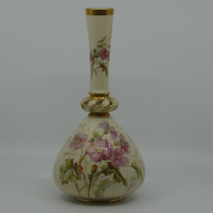 Royal Worcester Blush Ivory hand painted tall narrow neck bulbous vase with reticulated neck