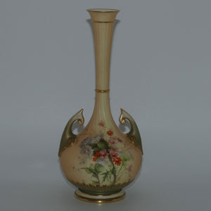 Royal Worcester Blush Ivory Scotch Thistle narrow neck and handled bulbous vase