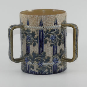 Doulton Lambeth George Tinworth stoneware triple handled loving cup tyg