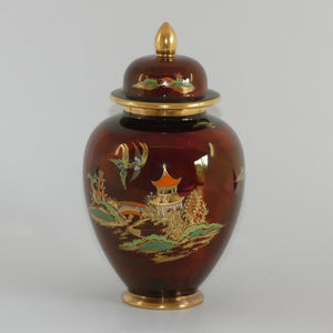 Carlton Ware Rouge Royale New Mikado ginger jar (Bridge and Fisherman in boat images on lid)