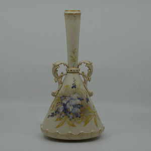 Royal Worcester Blush Ivory hand painted violets tall narrow neck vase with gilt handles