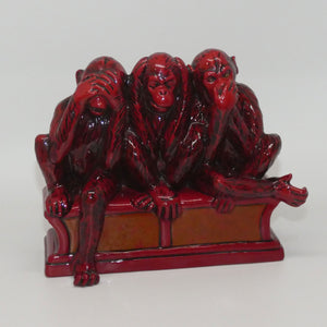 BA64 Royal Doulton Burslem Artwares Flambe Three Wise Monkeys