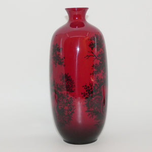 Royal Doulton Flambe Woodcut 1619 Highland Deer tall vase
