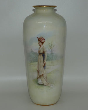 Doulton Burslem vase of a Young Woman signed S Alcock