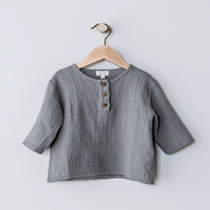 The Simple Folk Henley - Lead Grey