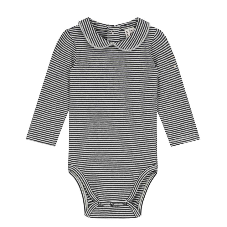 Gray Label Baby Collar Onesie - Nearly Black/Cream
