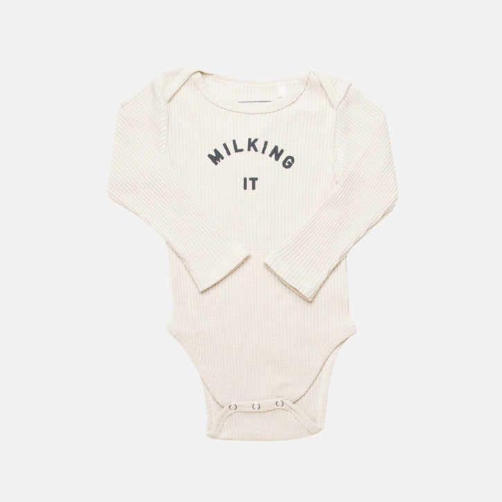 Claude & Co 'Milking It'® Long Sleeve Bodysuit - Oat