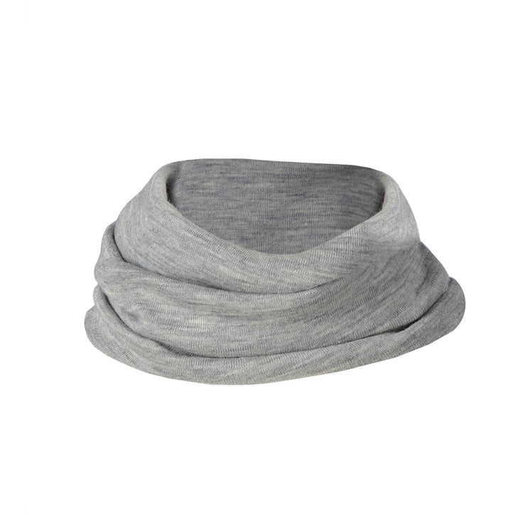 ENGEL Organic Silk & Merino Loop Scarf - Light Grey Mélange