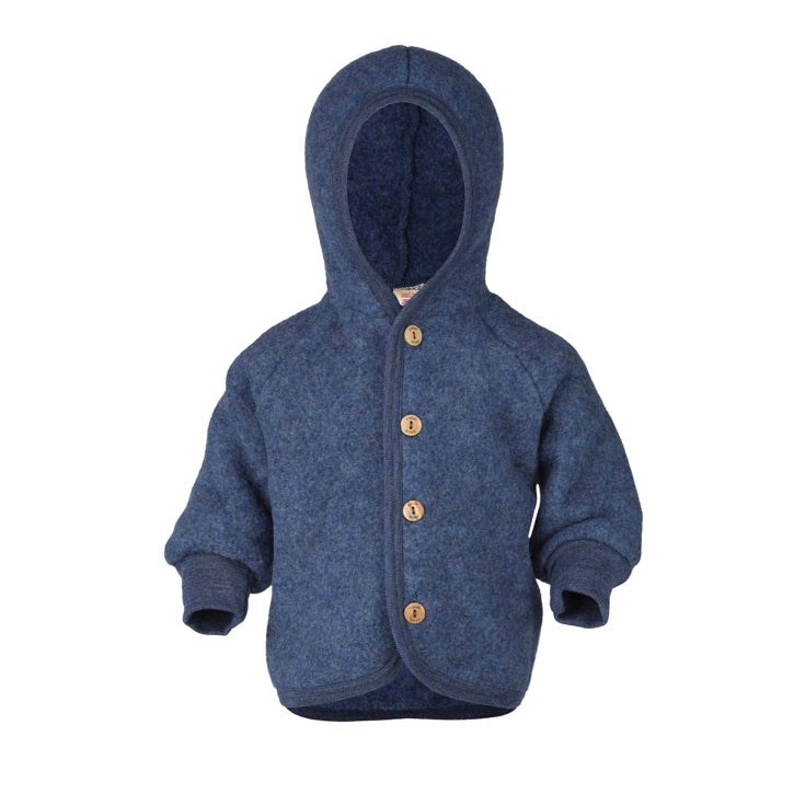 ENGEL Organic Merino Wool Fleece Jacket - Blue Mélange