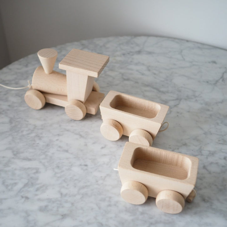 Natural Wooden Train with Wagons