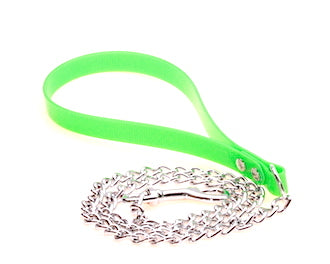 LIGHT WEIGHT CHAIN LEAD WITH DURABLE GREEN BIOTHANE HANDLE
