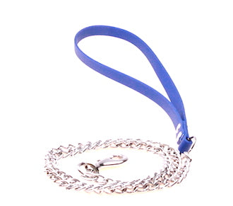 LIGHT WEIGHT Chain Lead with DURABLE blue  Biothane Handle