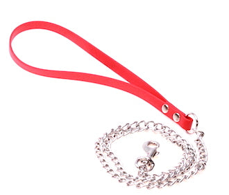 MEDIUM WEIGHT Chain Lead with DURABLE RED  Biothane Handle
