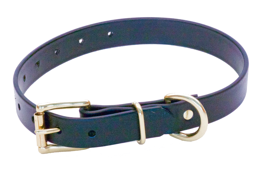 BIOTHANE 19MM X 450MM BLACK BETA COLLAR (SOLID BRASS)