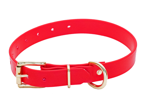 BIOTHANE 19mm x 450mm RED BETA COLLAR (SOLID BRASS)