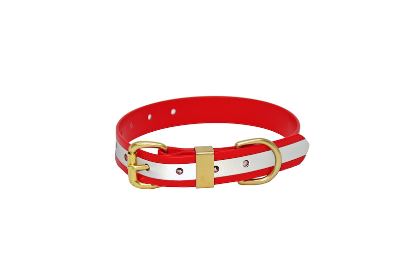 25MM X 600MM RED REFLECTIVE BIOTHANE COLLAR, STAINLESS STEEL or BRASS