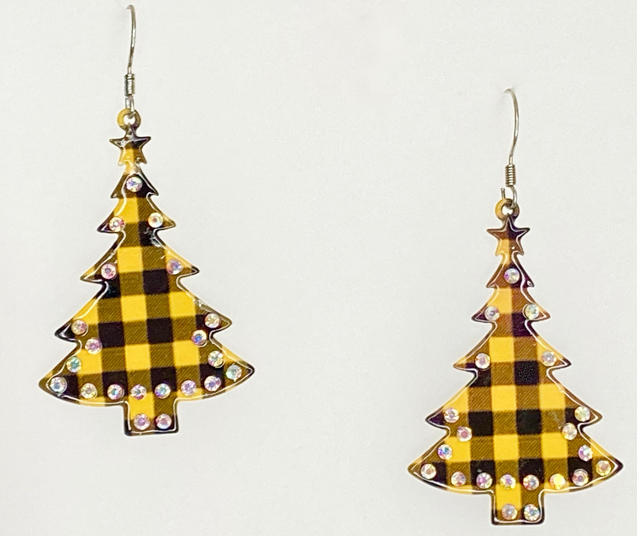 Yellow Buffalo Plaid Christmas Tree Earrings Occasions Boutique