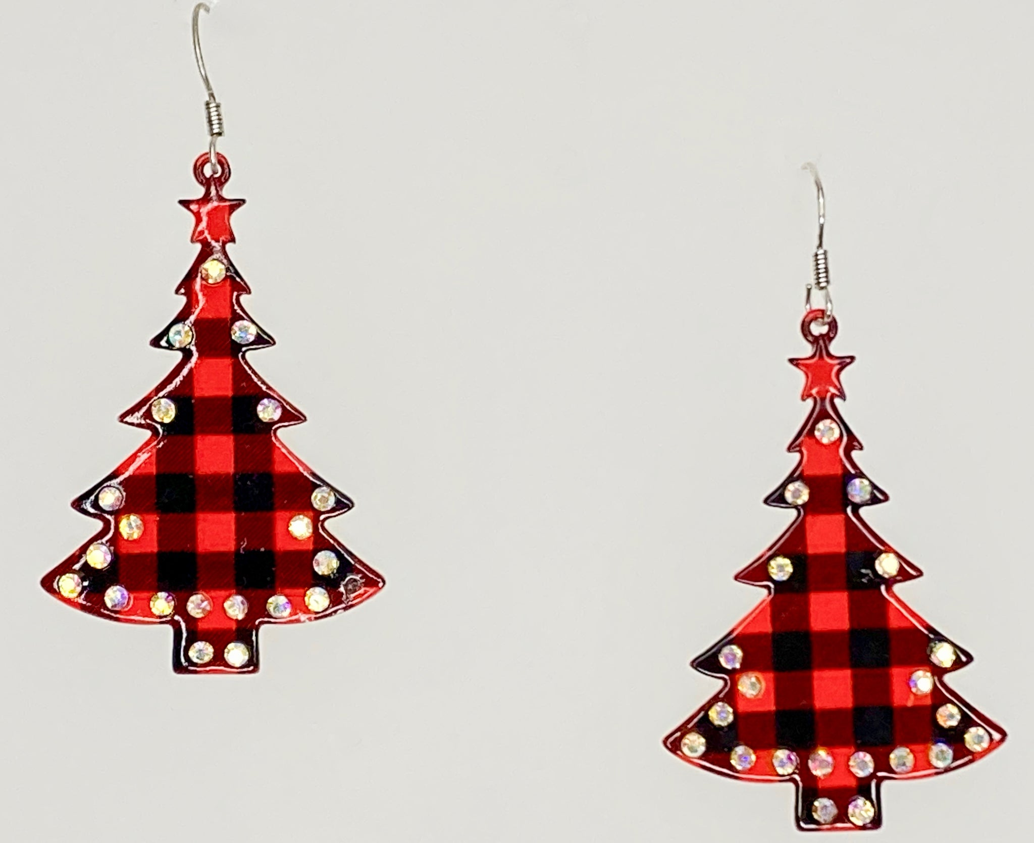 Red Buffalo Plaid Christmas Tree Earrings Occasions Boutique
