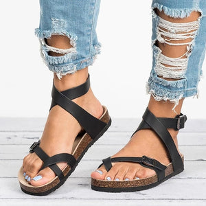 Open image in slideshow, Leather Flat Sandals - allureshops.com