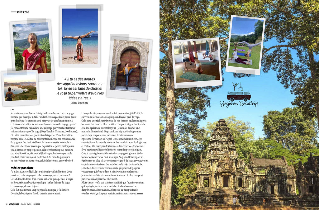 Magazine Naturelles parution printemps Yogis on roadtrip