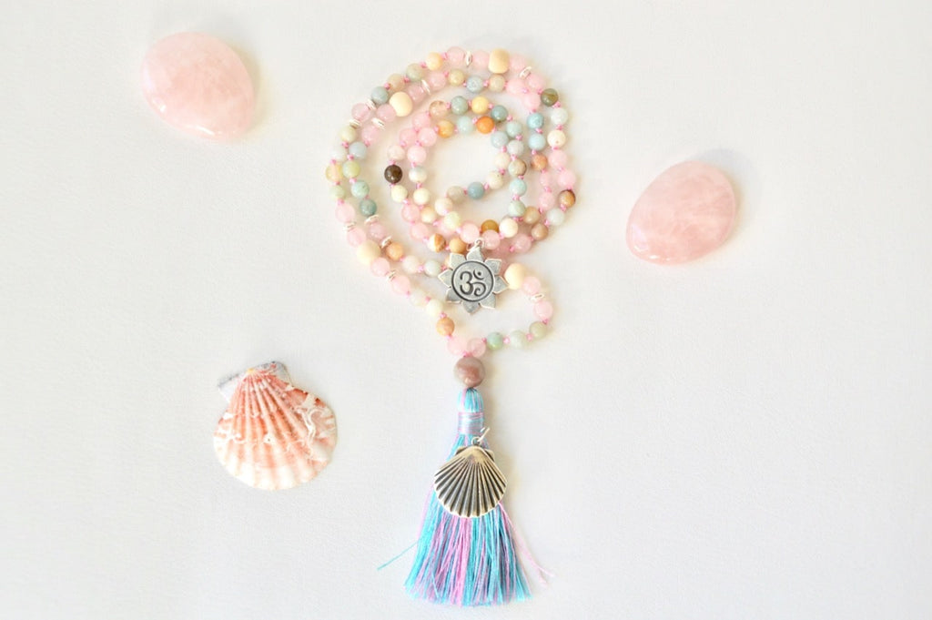mala quartz rose et amazonite