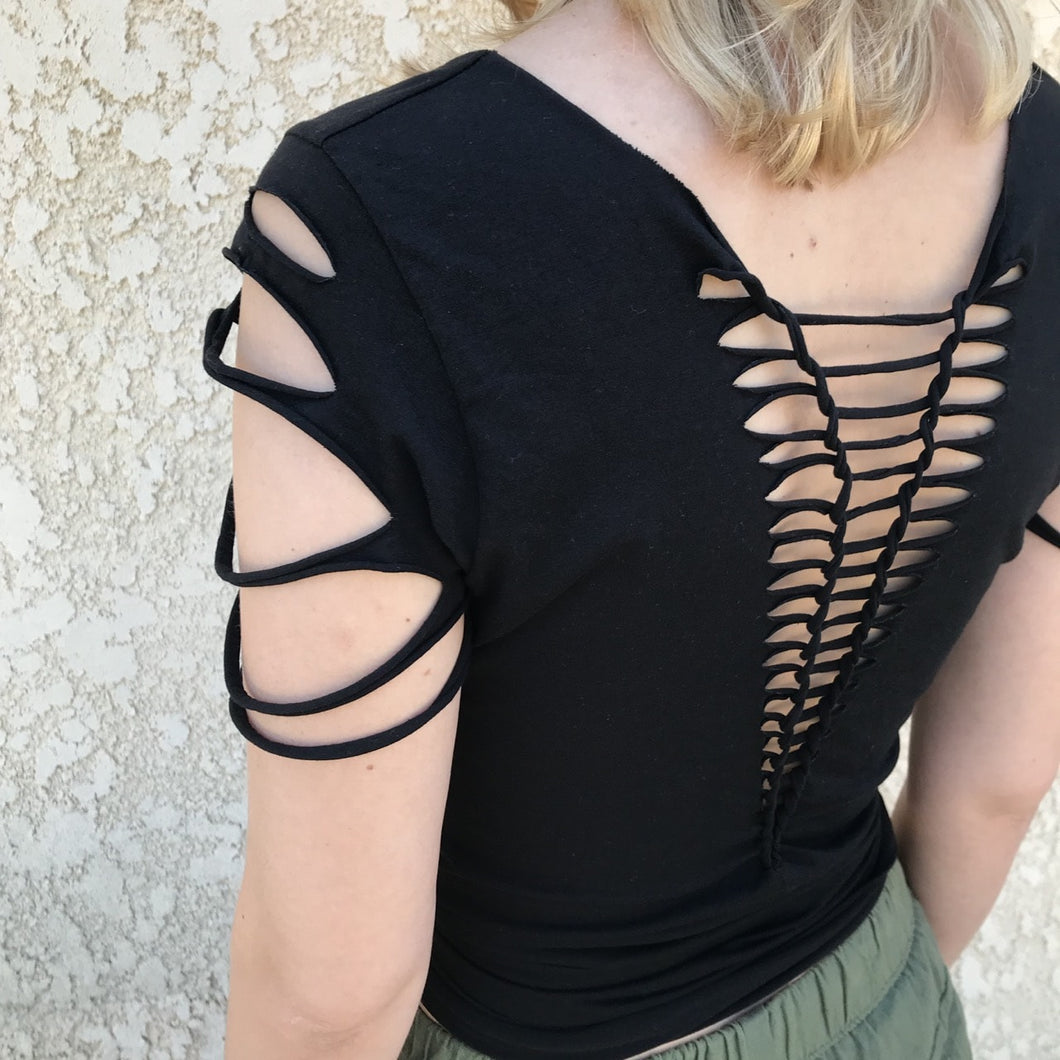 black yoga tee open back