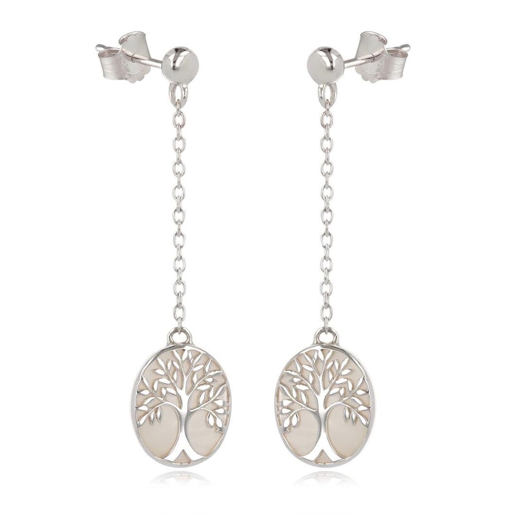 Earrings long tree of life silver 925 and white nacre (artisanal)