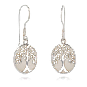 Earrings tree of life silver product handmade sale craft product