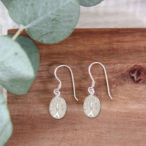 Silver tree earrings 925 and white mother-of-pearl (handmade)