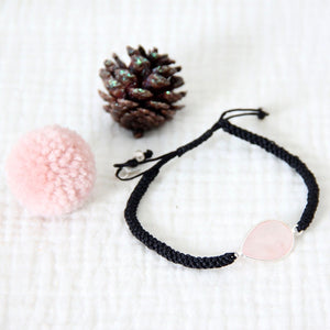 Rose quartz bracelet adjustable bracelet (handmade)