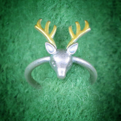 Bicolor-Ring Hirsch 925 Silber