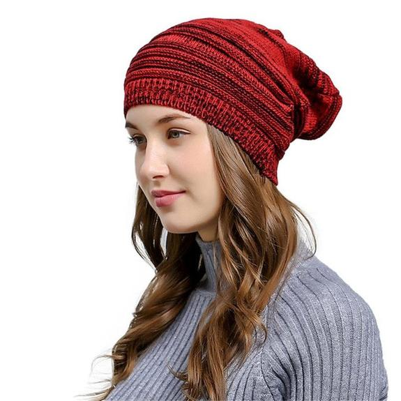 Wrinkle Winter Warm Hood Knitted Wool Cap