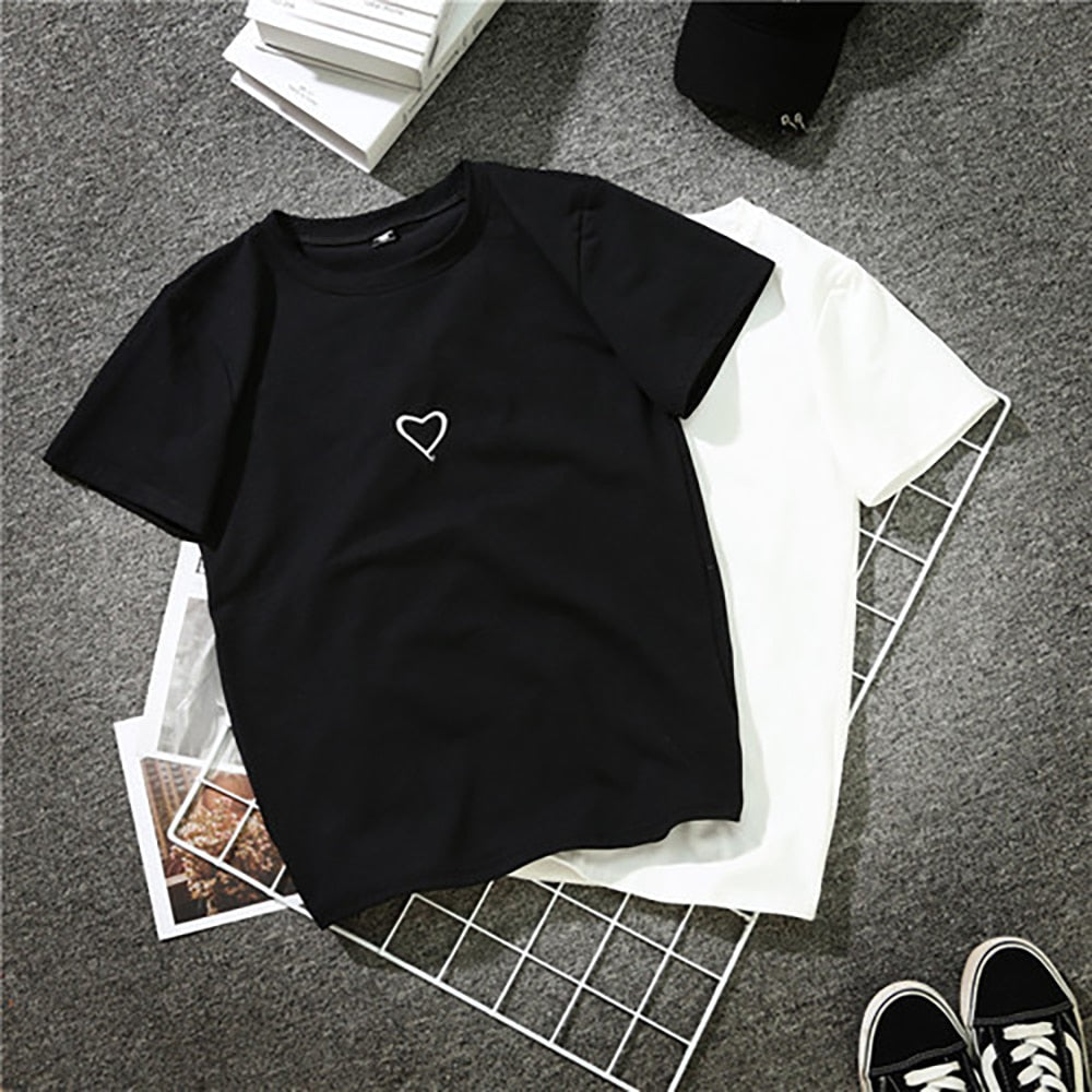 Neck Short Sleeve Korean Style T Shirt