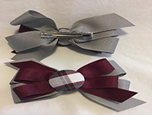 Ribbon Bow with button - Pinch Clip