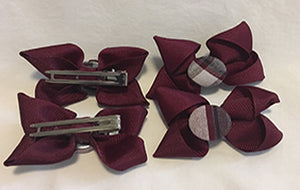2 pack Burgundy Ribbon w/Plaid Button - Pinch Clip