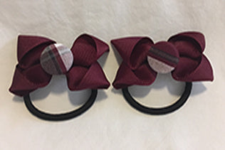 2 pack Burgundy Ribbon w/Plaid Button - Elastic