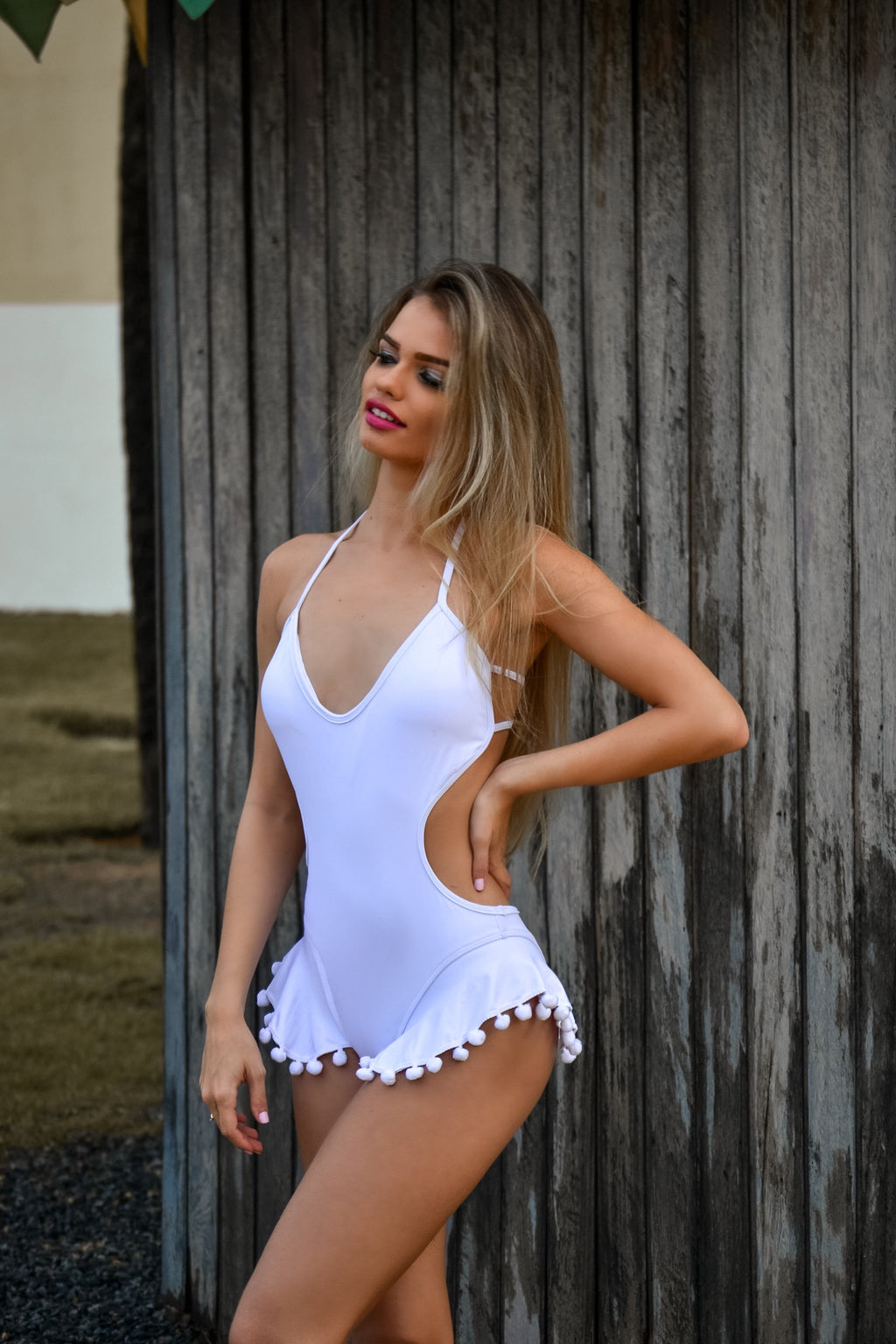Ruffle Cut Out One Piece Swimsuit - White