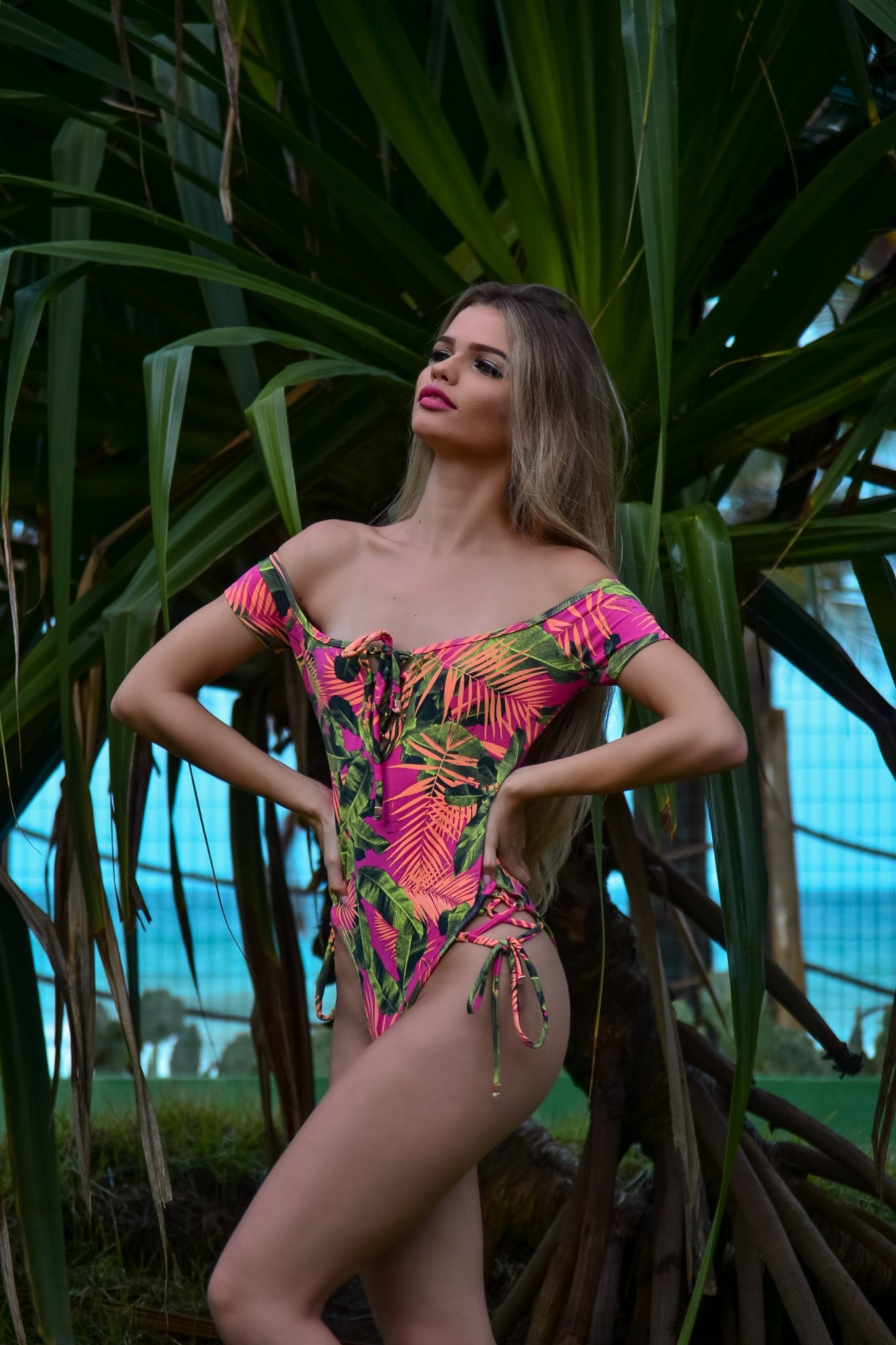 Miami Vice - Off Shoulder Lace Up One Piece