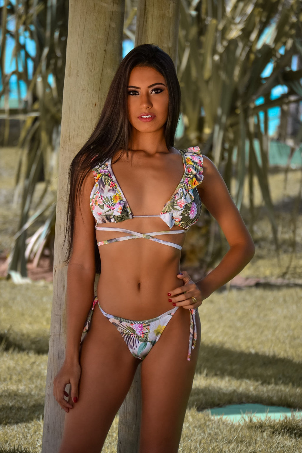 Wild Chic - Ruffle Adjustable Triangle Bikini Set