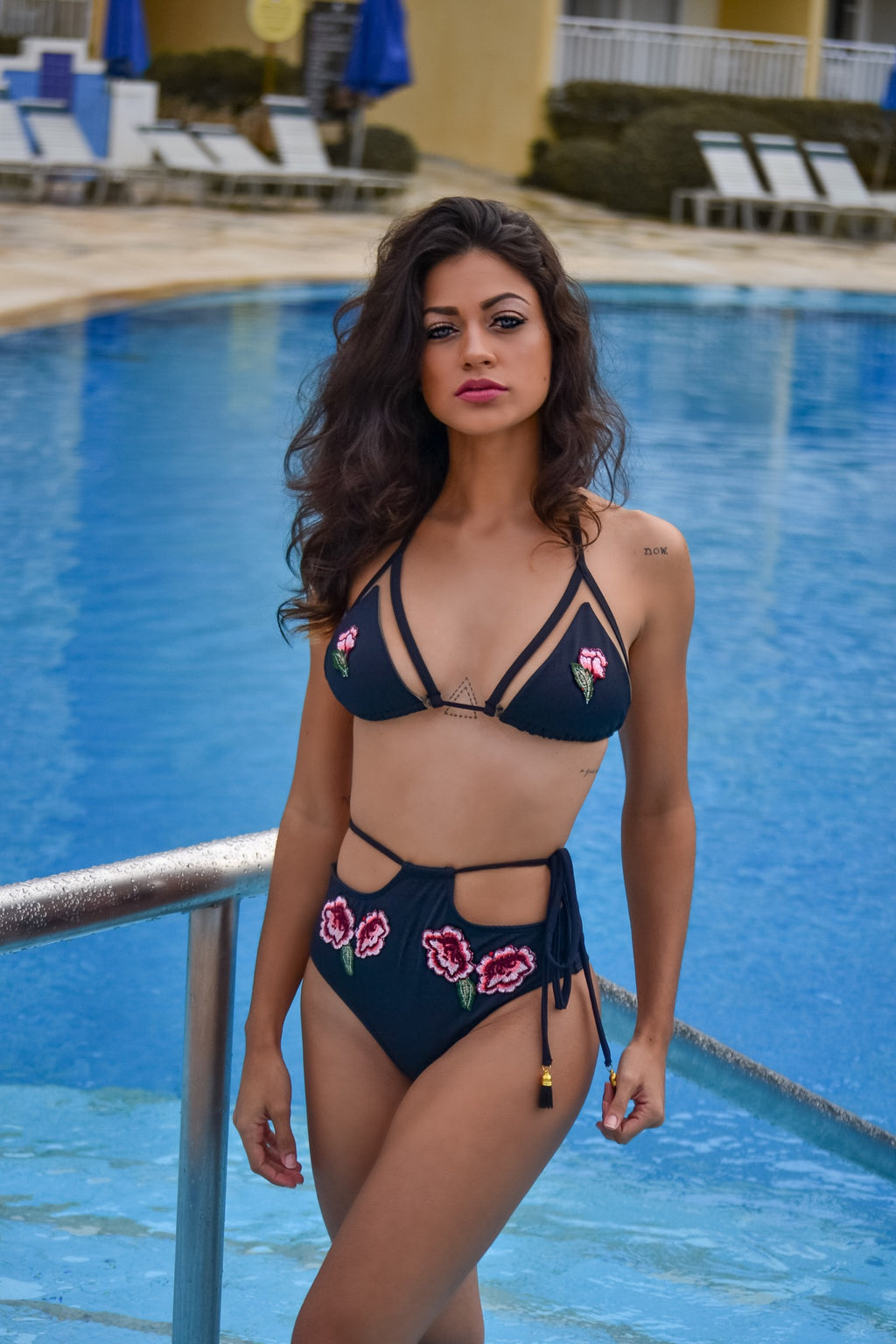 Eve - Embroidered High Waist Bikini Set