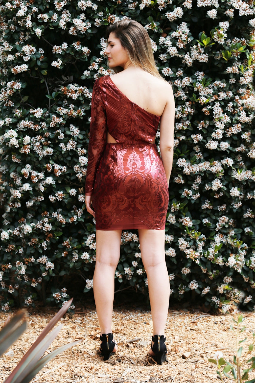 Amore - Sequinned Dress with Chiffon Skirt
