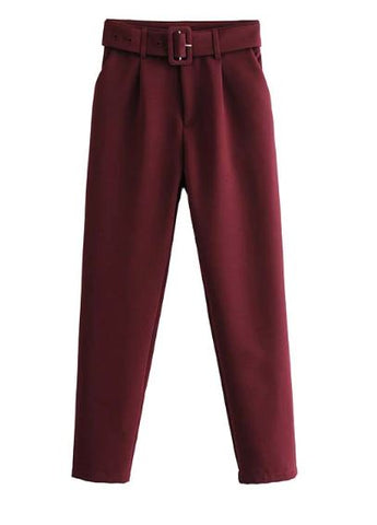 Quirk Belted Pants (Maroon)