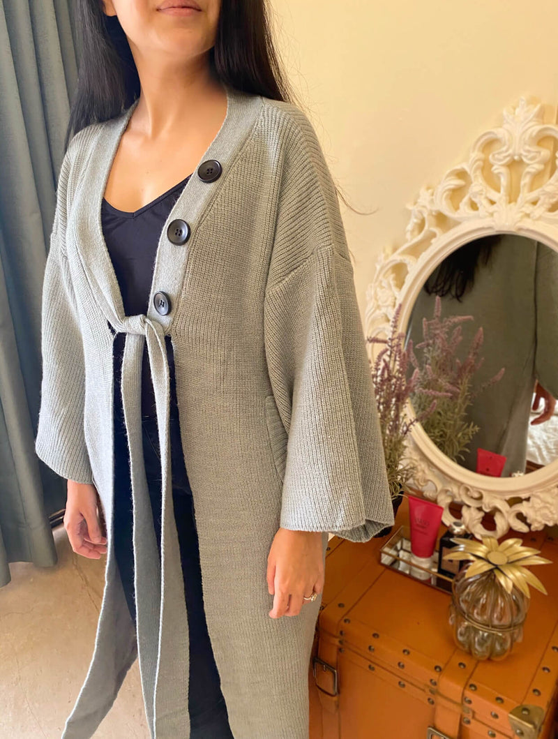 Fuji Knit Duster : Ash Blue