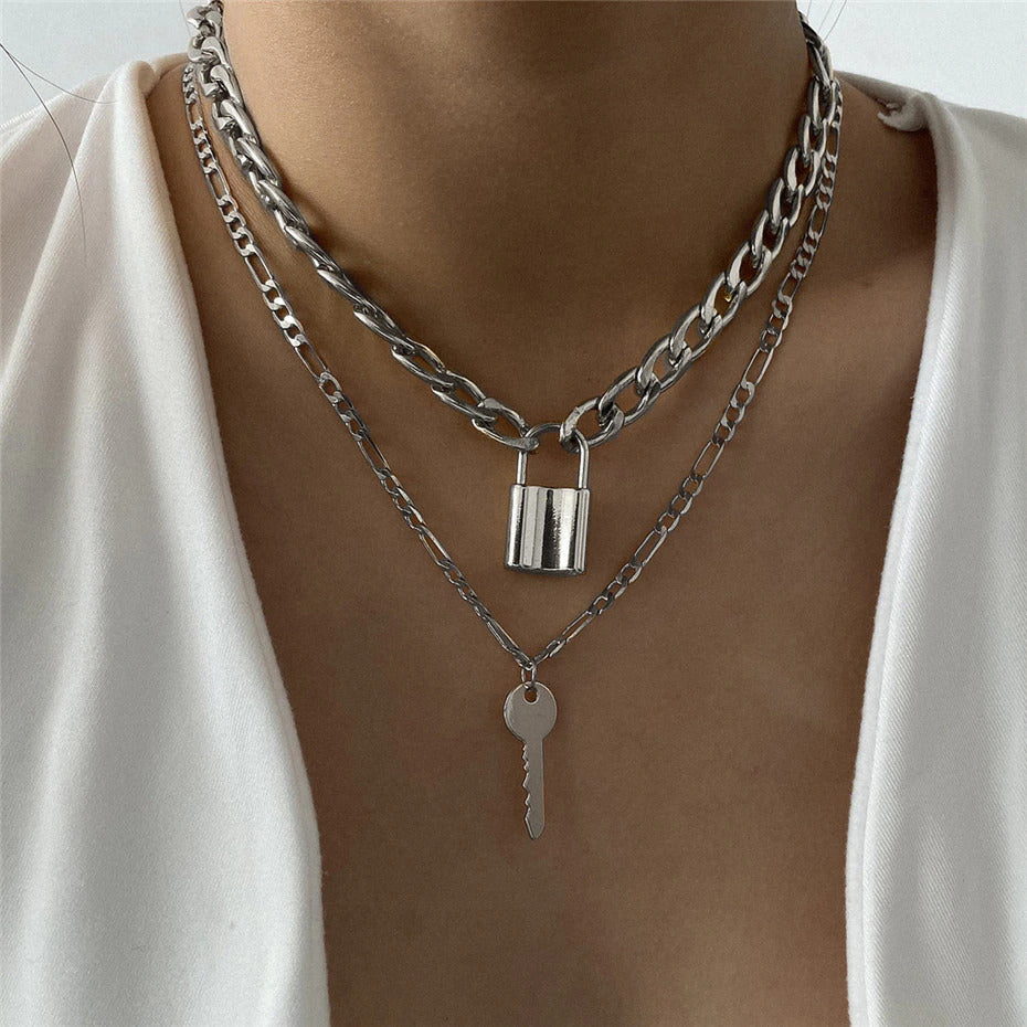 Lock & Key Necklace: Silver