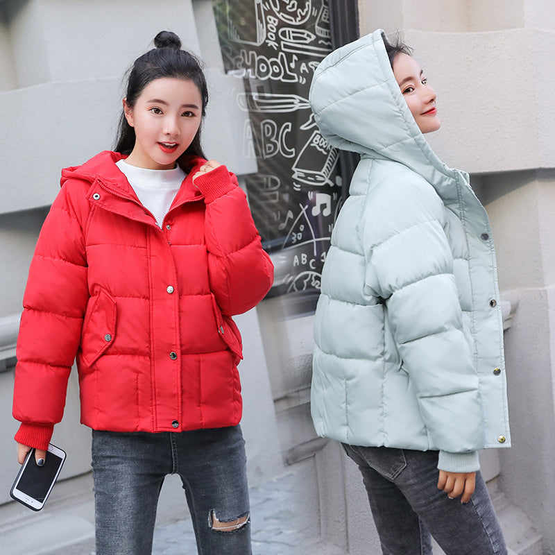 27602a314a52 Warm Winter Hooded Jacket Women 2018 New Down Parkas Cotton Padded Jackets  Girls Slim Thick Short Female Spring Solid Color Coat