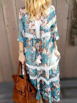 Print Ankle-Length Three-Quarter Sleeve Travel Look Fall Dress