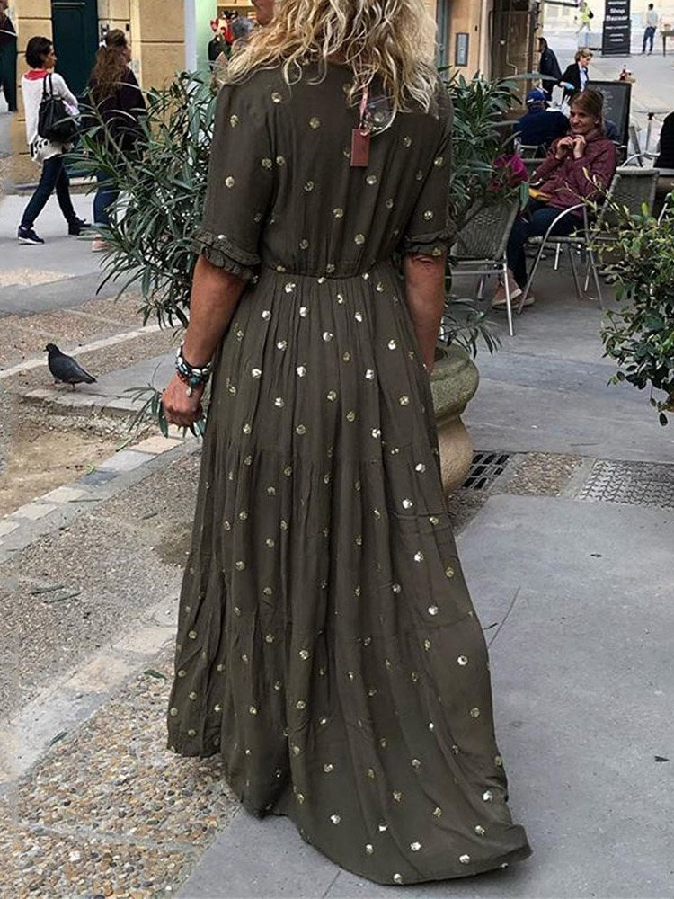 Lace-Up Half Sleeve Floor-Length Casual Polka Dots Dress