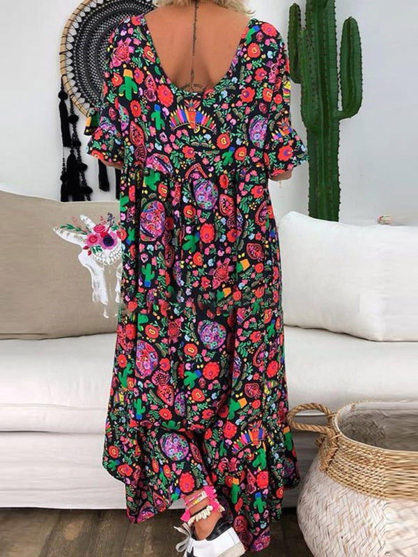 Pleated Mid-Calf Short Sleeve Floral Summer Dress