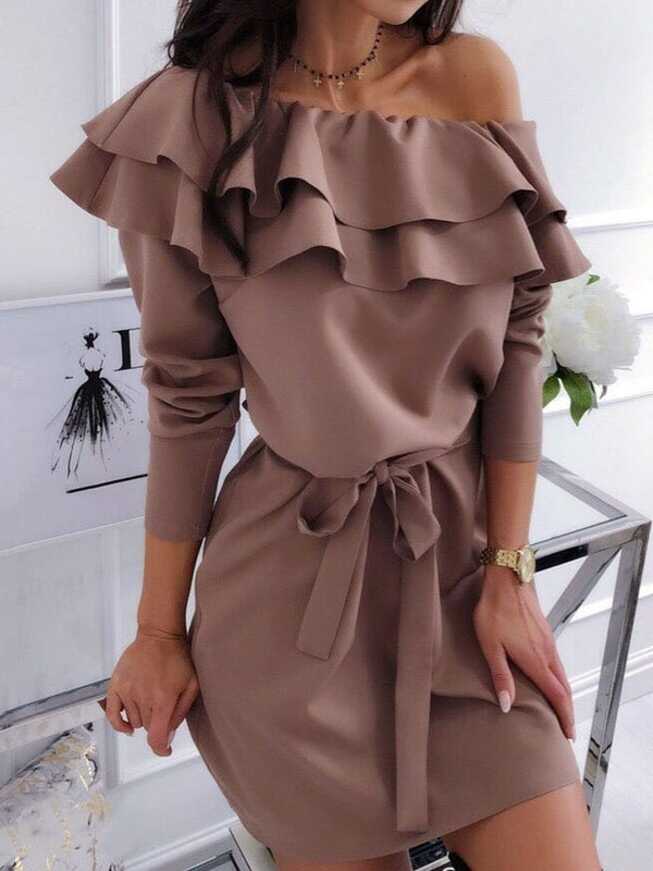 Above Knee Long Sleeve Falbala Travel Look Pullover Dress