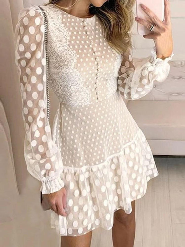 Long Sleeve Round Neck Above Knee Pullover Sweet Dress